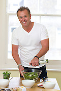 Col0039327 . Daily Telegraph..DT Weekend..Spinach, Pea and Fetta Salad ...Chef Michael Moore cooking recipes from his new book Blood Sugar, which has recipes tailored for those with diabetes...London 24 April 2012