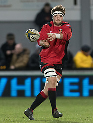 Dragons' James Benjamin during the pre match warm up.<br /> <br /> Photographer Simon Latham/Replay Images<br /> <br /> Anglo-Welsh Cup Round Round 4 - Dragons v Worcester Warriors - Friday 2nd February 2018 - Rodney Parade - Newport<br /> <br /> World Copyright © Replay Images . All rights reserved. info@replayimages.co.uk - http://replayimages.co.uk