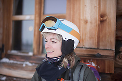 Woman wearing winter sports clothing
