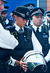 ©Licensed to London News Pictures 28/09/2020  <br /> Croydon, UK. Members of the Metropolitan Police Territorial Support Group hold a short service and moments silence to lay a TSG helmet for Sgt Matt Ratana at Croydon Custody Centre yard. The murder investigation continues after the death of police sergeant Matt Ratana at the Croydon Custody Centre in South London last week. Photo credit:Grant Falvey/LNP