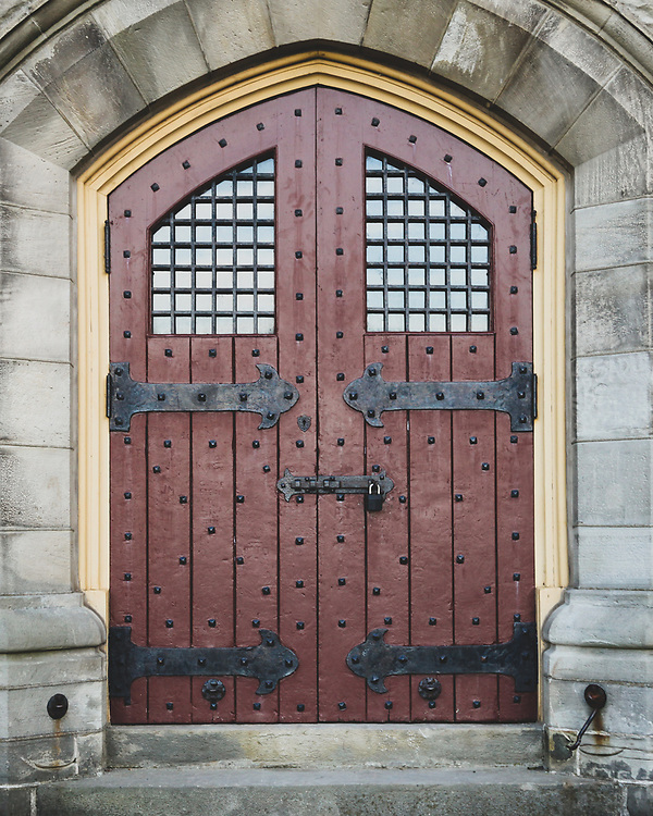 The classic door at the monument to the Battle of Stoney Creek in Ontario, CA.