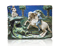 Enamelled terracotta relief panel of Saint George sleighing the Dragon. Made in Florence around 11520. Inv RF 3096, The Louvre Museum, Paris. .<br /> <br /> If you prefer you can also buy from our ALAMY PHOTO LIBRARY  Collection visit : https://www.alamy.com/portfolio/paul-williams-funkystock/florentine-enamel-antiquities.html <br /> <br /> Visit our MEDIEVAL ART PHOTO COLLECTIONS for more   photos  to download or buy as prints https://funkystock.photoshelter.com/gallery-collection/Medieval-Gothic-Art-Antiquities-Historic-Sites-Pictures-Images-of/C0000gZ8POl_DCqE