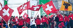 19.03.2010, Planica, Kranjska Gora, SLO, FIS SKI Flying World Championships 2010, Flying Hill Individual, im Bild Feature, Schwitzer Fans mit Nationalflagge, EXPA Pictures © 2010, PhotoCredit: EXPA/ J. Groder / SPORTIDA PHOTO AGENCY