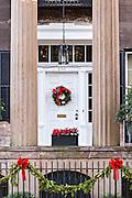 Christmas decorations on the Harper Fowlkes House in historic Savannah, GA.