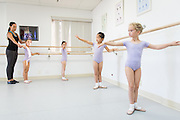 Bay Pointe Ballet students take class at the Bay Pointe Ballet studios in South San Francisco, California, on October 8, 2014. (Stan Olszewski/SOSKIphoto)