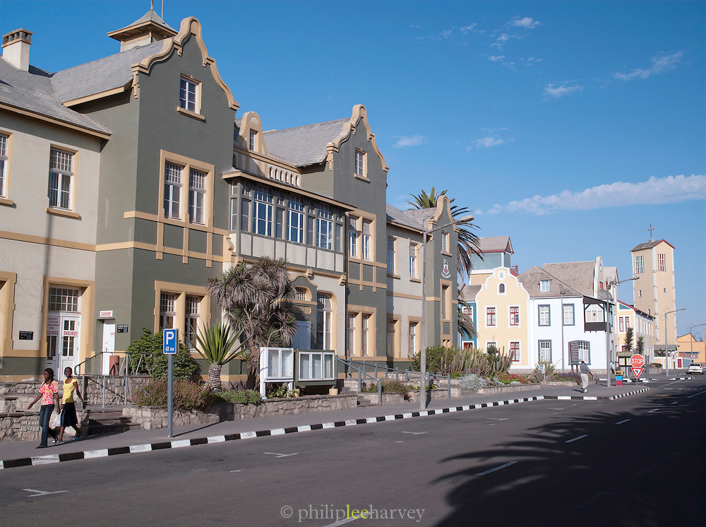Quiet street scene in Swakopmund, Namibia
