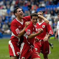 Photo: Jed Wee.<br />Tranmere Rovers v Bristol City. Coca Cola League 1. 22/04/2006.<br /><br />Bristol City's Bradley Orr (L) celebrates with penalty scorer Craig Woodman.