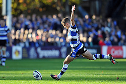 George Ford of Bath Rugby kicks for the posts - Photo mandatory by-line: Patrick Khachfe/JMP - Mobile: 07966 386802 25/10/2014 - SPORT - RUGBY UNION - Bath - The Recreation Ground - Bath Rugby v Toulouse - European Rugby Champions Cup