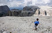 the peak of Sass Pordoi (2952m) Dolomites, italy