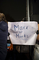 DEU, Deutschland, Germany, Erfurt, 04.12.2014:<br /> Demonstration vor dem Landtag gegen die Bildung einer Rot-Rot-Grünen Regierung mit Bodo Ramelow (Die Linke) als Ministerpräsident. Plakat Marx ist Murks.
