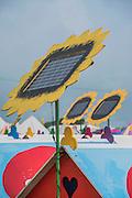 Solar powered huts in teh hospitality camping area recieve a rare dose of sunshine - The 2016 Glastonbury Festival, Worthy Farm, Glastonbury.