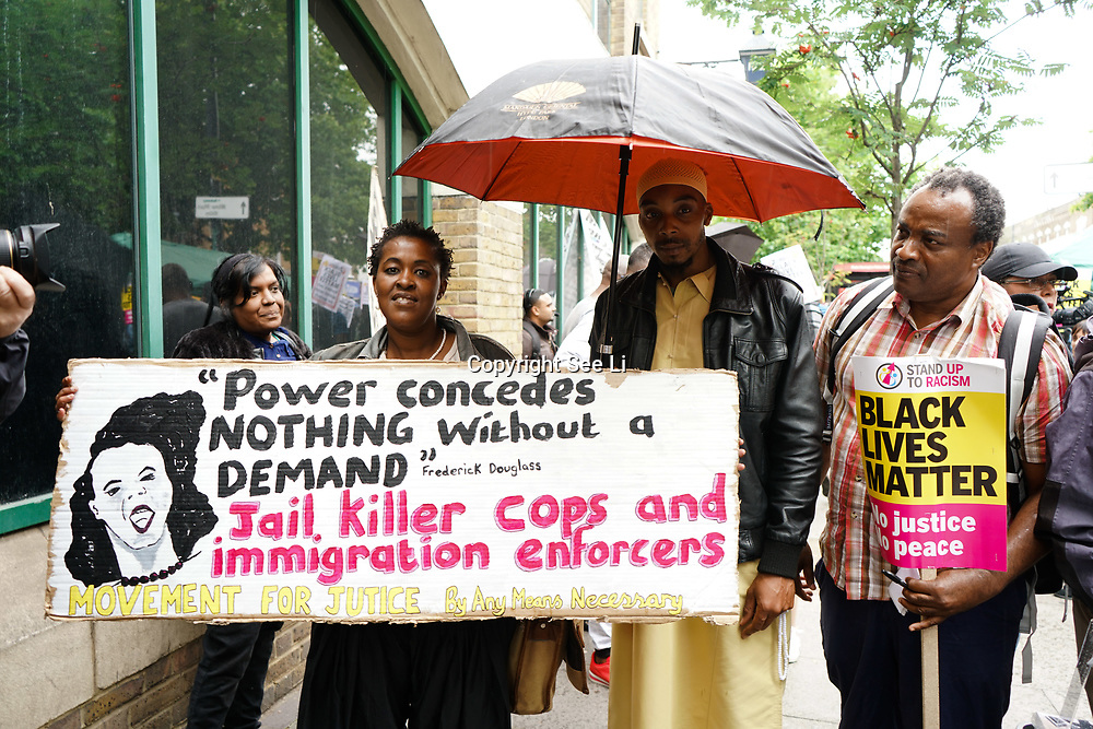 Stoke Newington Police, London, England, UK. 29th July 2017. Rashan Charles father leaving after a speaks at Justice For Rashan and Edson Da Costa protest & vigil at the front of Stoke Newington Police.