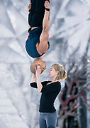 """Aerial acrobats Silja Dos Reis and Jérôme Sordillon practice during rehearsal for """"Cirque du Soleil: CRYSTAL"""" at the Alliant Energy Center in Madison, WI on Wednesday, May 1, 2019."""