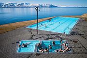 Skagafjordur, Iceland, 6 apr 2019, Hofsos pool located by the fjord of Skagfjordur.