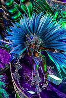 Samba dancer on a float of the Paraiso do Tuiuti samba school's carnaval parade in the Sambadrome, Rio de Janeiro, Brazil.