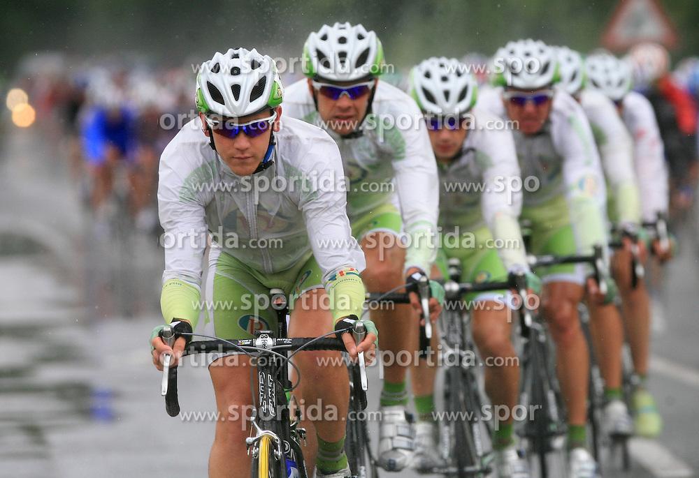 Riders of team Perutnina Ptuj (in front  Kristjan Fajt of Slovenia (Perutnina Ptuj) and Gregor Gazvoda of Slovenia (Perutnina Ptuj)) leading the peloton in last 4th stage of the 15th Tour de Slovenie from Celje to Novo mesto (157 km), on June 14,2008, Slovenia. (Photo by Vid Ponikvar / Sportal Images)/ Sportida)