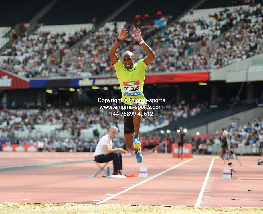 Nathan Douglas competes in the men's triple jump during the IAAF Diamond League at the Queen Elizabeth Olympic Park London, England on 20 July 2019.