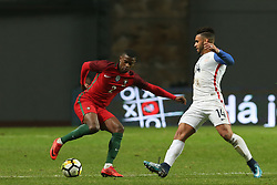 November 14, 2017 - Leiria, Leiria, Portugal - Portugal defender Nelson Semedo (L) and United States of America forward Dom Dwyer (R) during the match between Portugal and United States of America International Friendly at Estadio Municipal de Leiria, on November 14, 2017 in Leiria, Portugal. (Credit Image: © Dpi/NurPhoto via ZUMA Press)