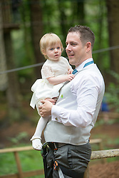 Martin Milner and Colette Gregory tying the knot in the trees at Go Ape Aberfoyle. Martin with his daughter Alice.