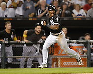 CHICAGO - SEPTEMBER 07:  Tim Anderson #7 of the Chicago White Sox scores a run against the Los Angeles Angels on September 7, 2019 at Guaranteed Rate Field in Chicago, Illinois.  (Photo by Ron Vesely)  Subject:   Tim Anderson