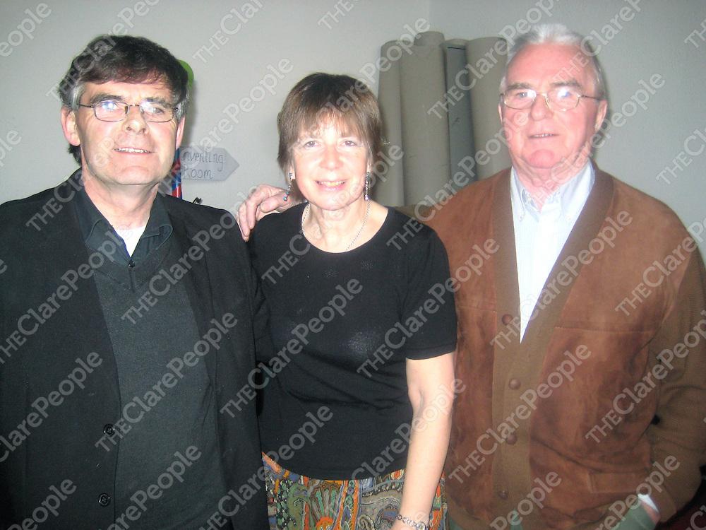 Noel Keating, Pene Welham and Danny Keating at the Pecker Dunne tribute concert at Cois na hAbhana.