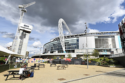 April 26, 2018 - London, MIDDLESEX, UK - LONDON, UK.  Ongoing construction continues around Wembley Stadium and its world famous arch.  It is reported that the Football Association (FA) has received a bid of GBP800m from Shahid Khan, owner of Fulham FC and the Jacksonville Jaguars NFL franchise, to purchase the stadium.  If the bid is successful, the FA will retain its organisational base at the stadium, but will open the way for the creation of the first NFL franchise located out of the United States. (Credit Image: © Stephen Chung/London News Pictures via ZUMA Wire)