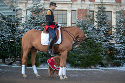 Sandro Pozzobon of the La Garde RŽpublicaine, French cavalry regiment with Shetland pony Bonnie, arrives at the Grand Hall entrance at Olympia London ahead of the start of the London International Horse Show.