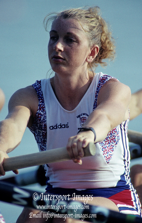 Barcelona, SPAIN.  GBR W8+, . Sue SMITH. 1992 Olympic Rowing Regatta Lake Banyoles, Catalonia [Mandatory Credit Peter Spurrier/ Intersport Images]