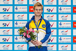 Gold medallist Jack Laugher from City of Leeds Diving Club celebrates on the podium after winning the Mens 3m Springboard Final - Mandatory byline: Rogan Thomson/JMP - 11/06/2016 - DIVING - Ponds Forge - Sheffield, England - British Diving Championships 2016 Day 2.