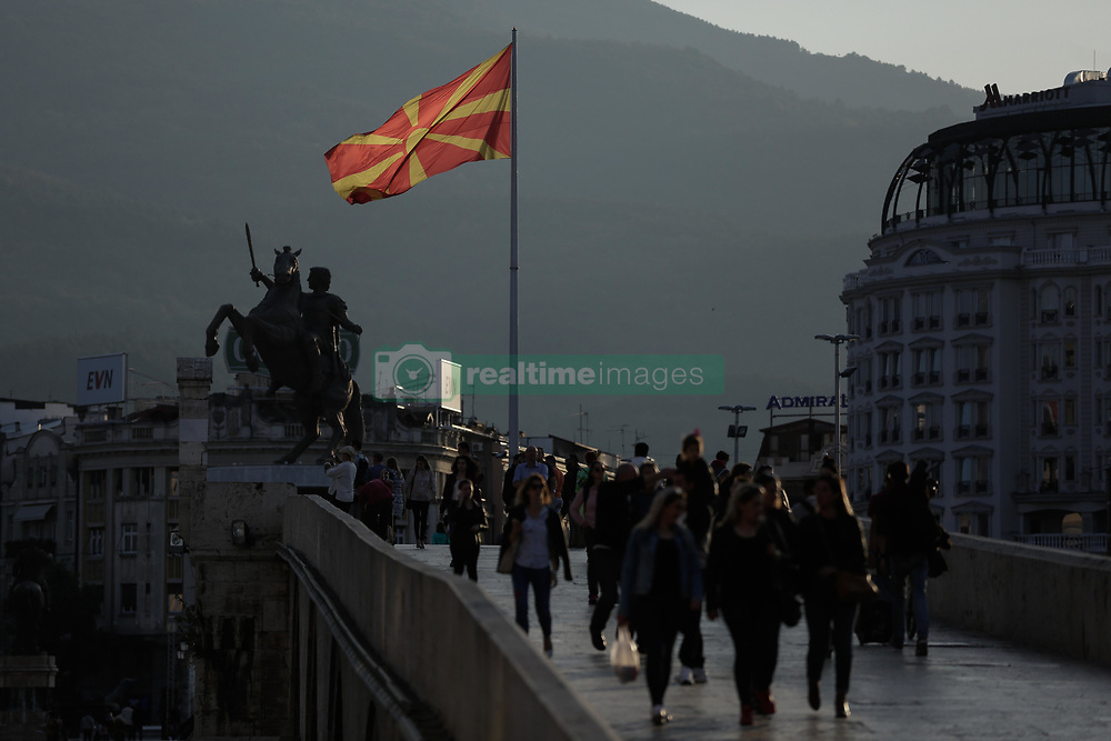 September 29, 2018 - Skopje, Former Yugoslav Republic of Macedonia - Macedonian national flag wave ahead of the Macedonia 'name deal' referendum, in the city of Skopje.  A referendum is scheduled for 30 September in Macedonia on whether to change the country's name to 'North Macedonia', to endorse a name deal in order to end a long running dispute between Macedonia and Greece and qualify for NATO membership. (Credit Image: © Eurokinissi via ZUMA Wire)