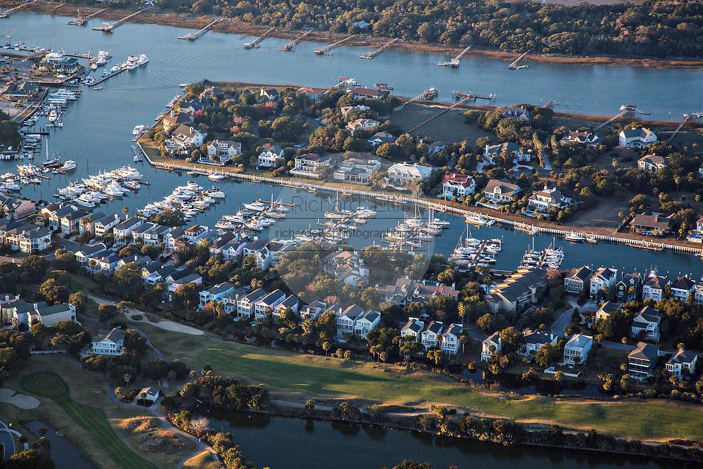 Aerial showing Wild Dunes marina on the Isle of Palms, South Carolina.