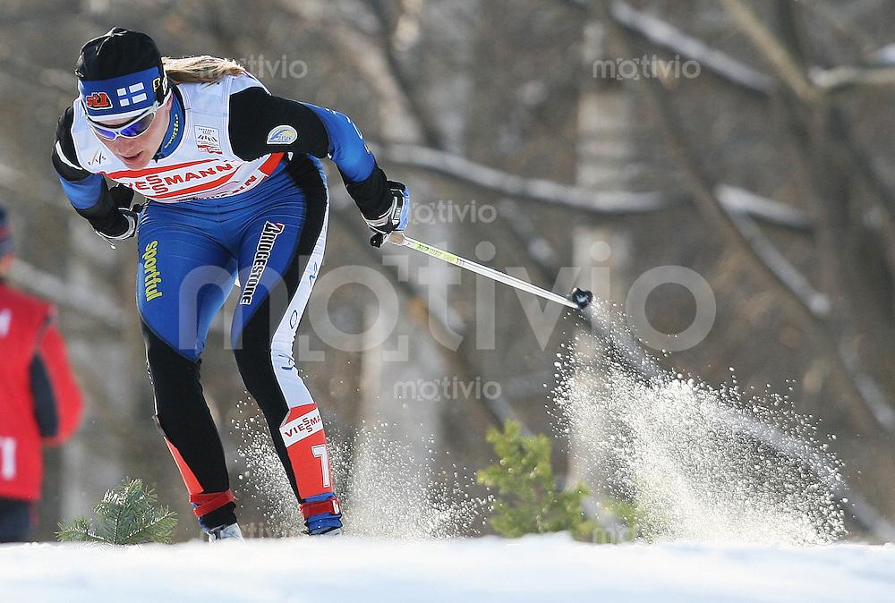 Sapporo , 010307 , Nordische Ski Weltmeisterschaft  Frauen 4x5KM Staffel Rennen ,  Virpi KUITUNEN (FIN)