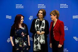 Pictured: First Minister Nicola Sturgeon at the Edinburgh International Book Festival alongside Heather McDaid and Elif Shafak<br /> Book fanatics headed to Charlotte Square in Edinburgh which is the hub of the international Book Festival to meet the authors and also to meet up with fellow fans of the printed word.<br /> <br /> <br /> Ger Harley   EEm 18 August 2017