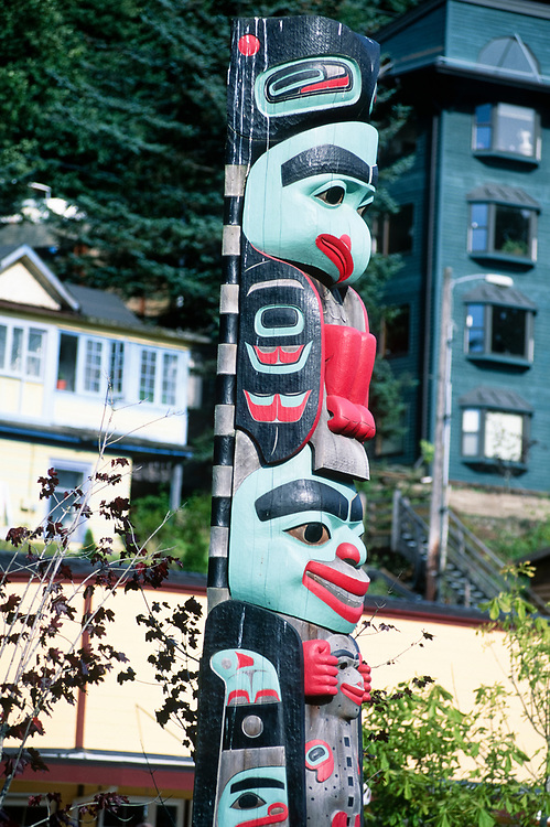 Alaska. Juneau. Totem poles at downtown dock.