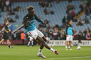 Tammy Abraham of Aston Villa (18) shooting practice during the EFL Sky Bet Championship match between Aston Villa and Rotherham United at Villa Park, Birmingham, England on 18 September 2018.
