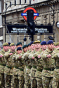 © Licensed to London News Pictures. 22/04/2013. Westminster, UK 4th Mechanised Brigade soldiers parade through London. More than 120 members of the Catterick-based brigade, which recently returned from six months in Afghanistan's Helmand province, parade through central London from Wellington Barracks to a reception at the Houses of Parliament. Photo credit : Stephen Simpson/LNP