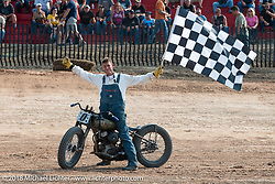 Josh Owens at the Sons of Speed vintage race series at the Full Throttle Saloon during the 78th annual Sturgis Motorcycle Rally. Sturgis, SD. USA. Thursday August 9, 2018. Photography ©2018 Michael Lichter.