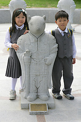 School Children with Statue, Gyeongbok Palace