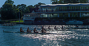 """Henley on Thames, United Kingdom, 29th June 2018, Friday, """"Henley Royal Regatta"""", One crew catches another during the Qualifying races, 203   Christchurch Rowing Club move through, 202   Cardiff City Rowing Club 'B', <br /> [Time Trails] over the, Regatta Course, Henley Reach, River Thames, Thames Valley, England, © Peter SPURRIER, 29/06/2018"""