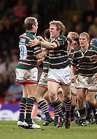 Photo: Rich Eaton.<br /> <br /> Cardiff Blues v Leicester Tigers. Heineken Cup. 29/10/2006. Sam vesty right of Tigers celebrates with Andy Goode after his last minute drop goal