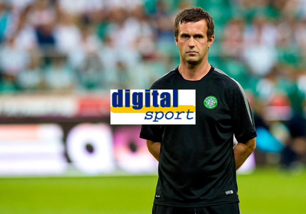 30/07/14 UEFA CHAMPIONS LEAGUE THIRD ROUND QUALIFIER FIRST LEG<br /> LEGIA WARSAW V CELTIC<br /> PEPSI ARENA - WARSAW<br /> Celtic manager Ronny Deila.
