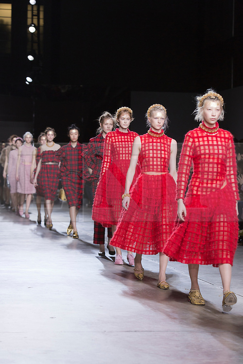 © Licensed to London News Pictures. 18 February 2014, London, England, UK. Models walk the runway at the Simone Rocha show during London Fashion Week AW14 at the Topshop Show Space/Tate Modern. Photo credit: Bettina Strenske/LNP