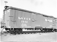 """3/4 view of box car #3502.  Stencilled """"Flour Sugar And Bean Loading Only"""".<br /> D&RGW"""