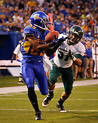 San Jose State Spartans wide receiver CHANDLER JONES (89) receives the ball for a touchdown over Sacramento State Hornets defensive back MARKELL WILLIAMS (31) during the season opener at San Jose State University's Spartan Stadium in San Jose, California, on August 29, 2013. The San Jose State Spartans beat the Sacramento State Hornets 24-0. (Stan Olszewski/ZUMA Press)