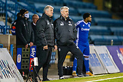 AFC Wimbledon manager Glyn Hodges and AFC Wimbledon assistant manager Nick Daws during the EFL Sky Bet League 1 match between Gillingham and AFC Wimbledon at the MEMS Priestfield Stadium, Gillingham, England on 24 November 2020.
