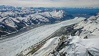 Aerial of Root Glacier and the Wrangell Mountains in Wrangell-St. Elias National Park, Alaska.
