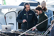 Fabrice Amédéo (Imoca Newrest - Arts et Fenêtres) with the DJ Breakbot and singer Irfane during the Route du Rhum 2018, on November 3rd, in Saint Malo, France, before the Route du Rhum sailing race to start on November 4th 2018 - Photo Olivier Blanchet / ProSportsImages / DPPI