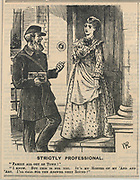 'London postman delivering a very personal letter to his sweetheart. Cartoon from ''Punch'', London, 1874.'