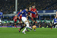 Kevin Mirallas of Everton shoots at goal but sees his effort saved. Premier league match, Everton v Manchester United at Goodison Park in Liverpool, Merseyside on Sunday 4th December 2016.<br /> pic by Chris Stading, Andrew Orchard sports photography.