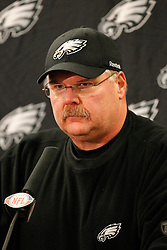 Philadelphia Eagles head coach Andy Reid speaks to the media after the NFL Game between the Philadelphia Eagles and the Chicago Bears. The Bears won 31-26 at Soldier Field on Sunday November 28th 2010. (Photo By Brian Garfinkel)